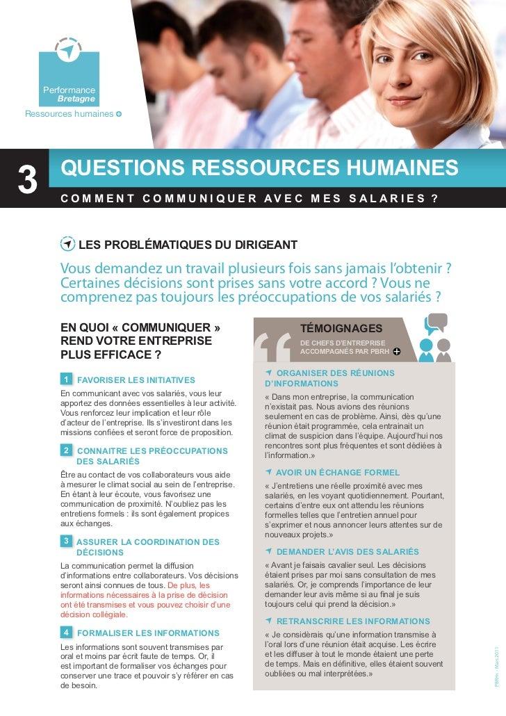 3 - Comment communiquer avec mes salariés ?