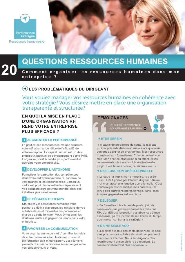 FQRH 20: Comment organiser les ressources humaines dans mon entreprise?