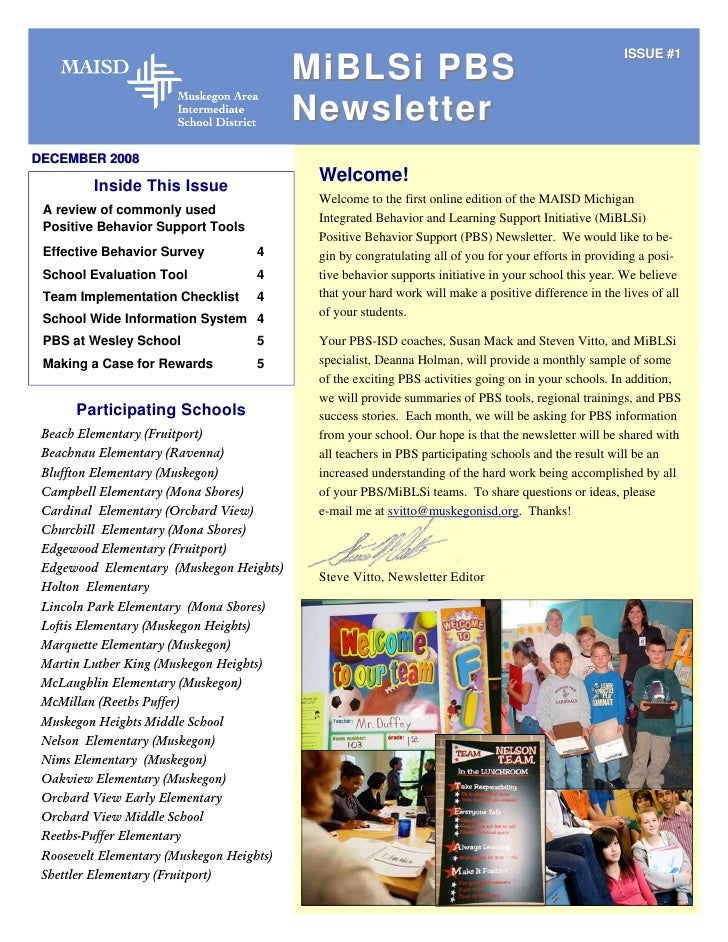 ISSUE #1                                            MiBLSi PBS                                            Newsletter DECEM...
