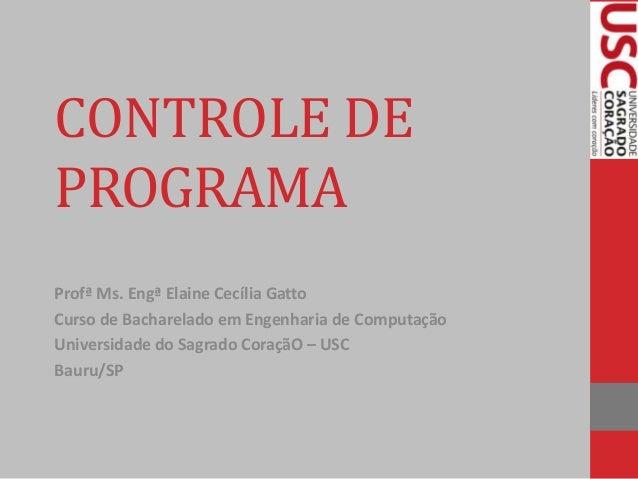 CONTROLE DE PROGRAMA Profª Ms. Engª Elaine Cecília Gatto Curso de Bacharelado em Engenharia de Computação Universidade do ...