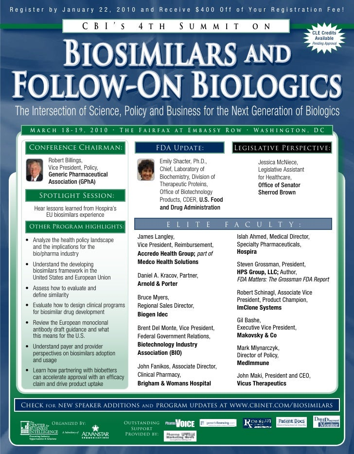 CBI\'S 4TH ANNUAL SUMMIT ON BIOSIMILARS AND FOLLOW-ON BIOLOGICS