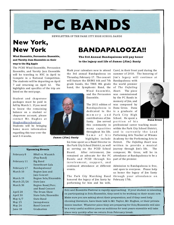 PCHS Bands Newsletter JANUARY 2011
