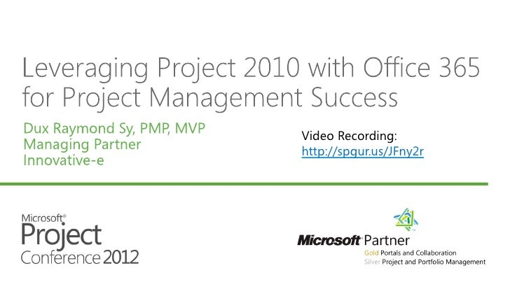 Leverage Project 2010 w/ Office 365 for Project Management Success