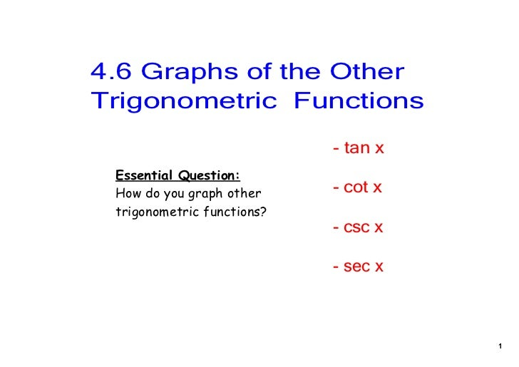 4.6 Graphs of the Other Trigonometric  Functions                            ­ tan x Essential Question: How do you graph o...