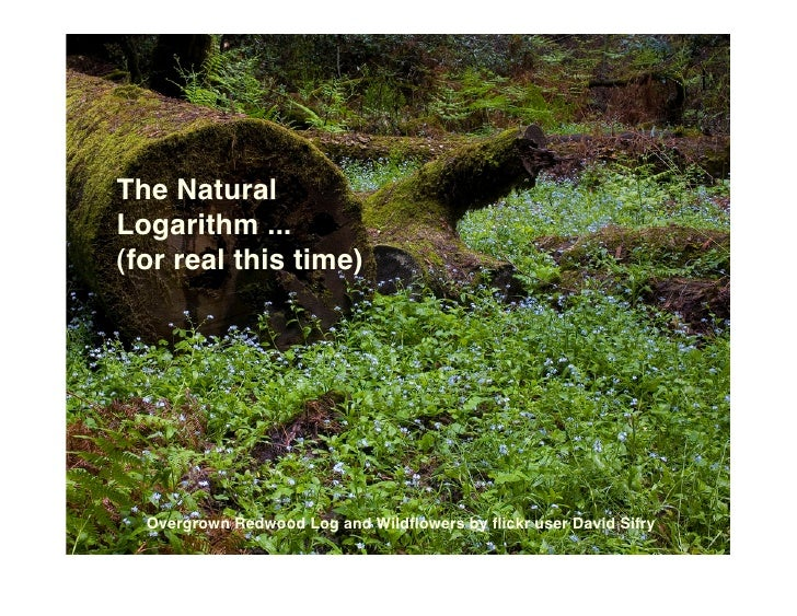 The Natural Logarithm ... (for real this time)       Overgrown Redwood Log and Wildflowers by flickr user David Sifry