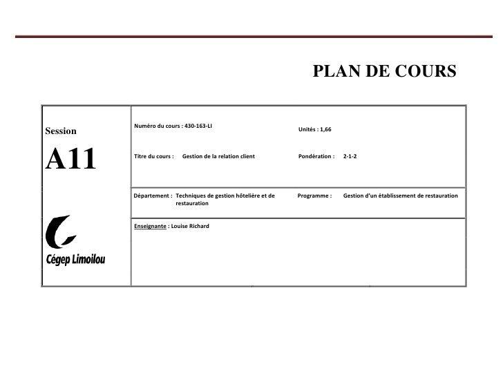 PLAN DE COURS<br />SessionA11Numéro du cours: 430-163-LIUnités: 1,66Titre du cours:Gestion de la relation clientPondéra...