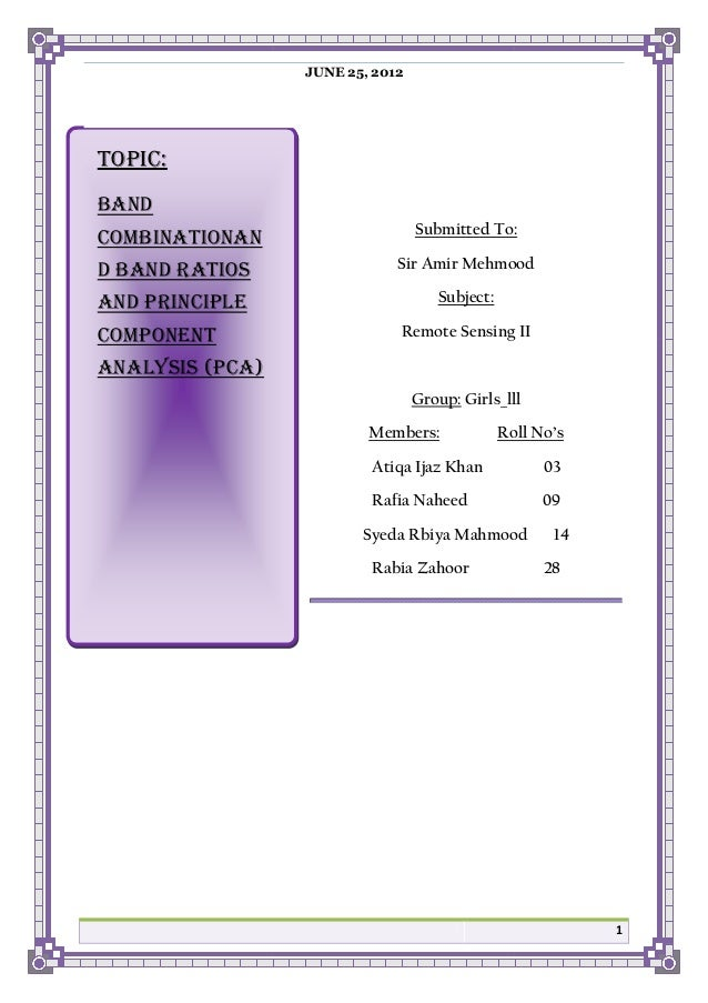 JUNE 25, 2012  TOPIC: BAND COMBINATIONAN  Submitted To:  D BAND RATIOS  Sir Amir Mehmood  AND PRINCIPLE  Subject:  COMPONE...