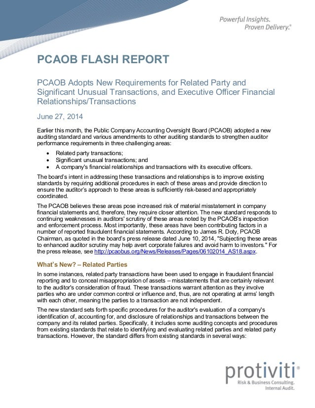 PCAOB FLASH REPORT PCAOB Adopts New Requirements for Related Party and Significant Unusual Transactions, and Executive Off...