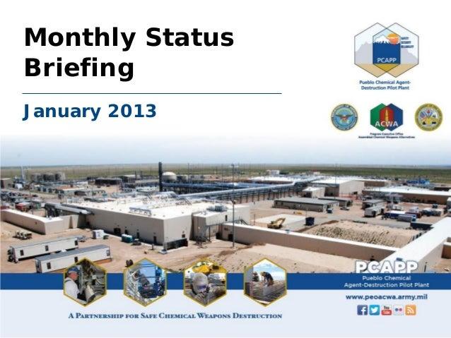 Monthly StatusBriefingJanuary 2013