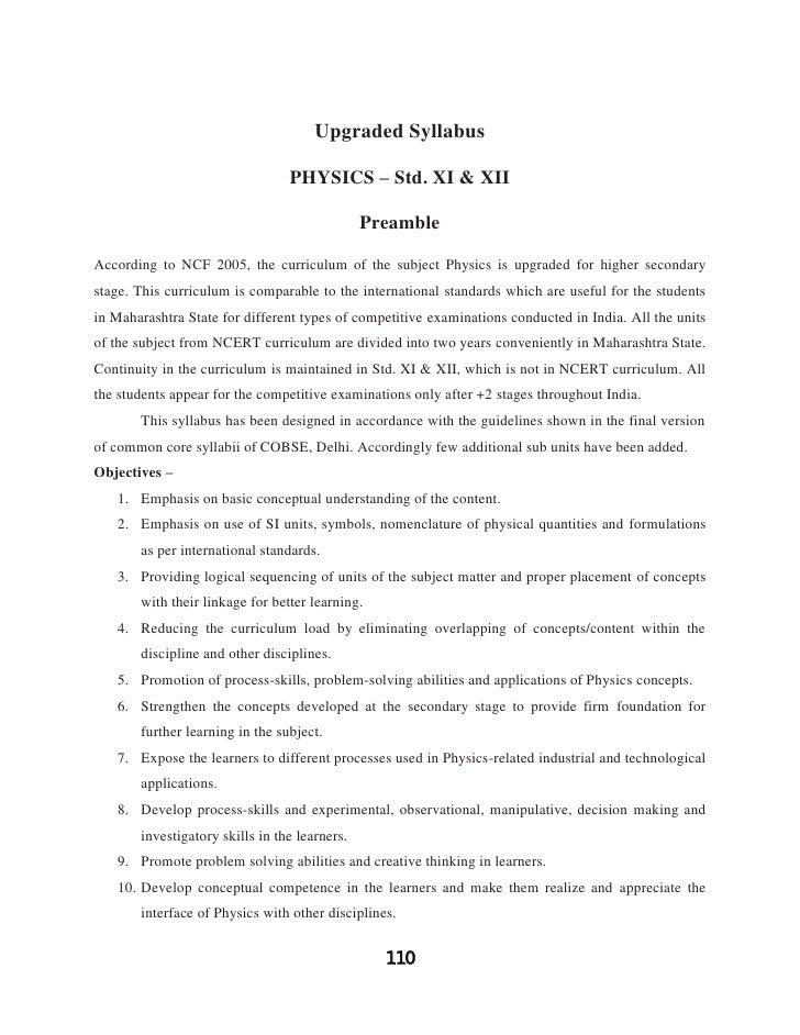 Upgraded Syllabus                                 PHYSICS – Std. XI & XII                                               Pr...