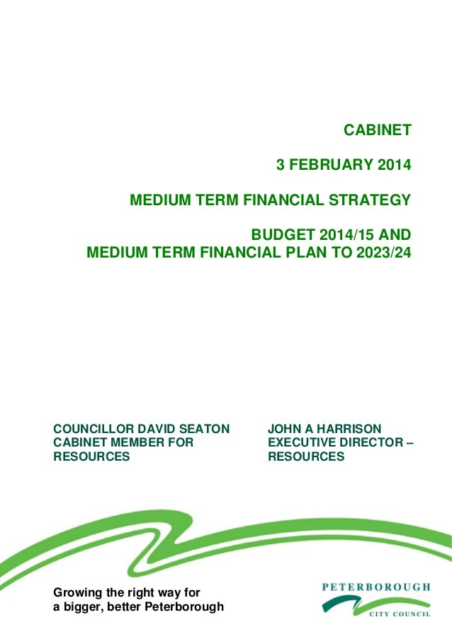 Peterborough City Council 2014/15 budget proposals: medium term financial strategy