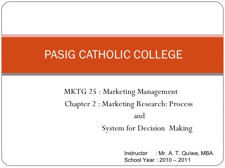MKTG 25 : Marketing Management Chapter 2 : Marketing Research: Process and  System for Decision  Making PASIG CATHOLIC COL...
