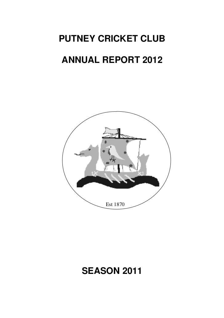Putney Cricket Club Annual Report 2012