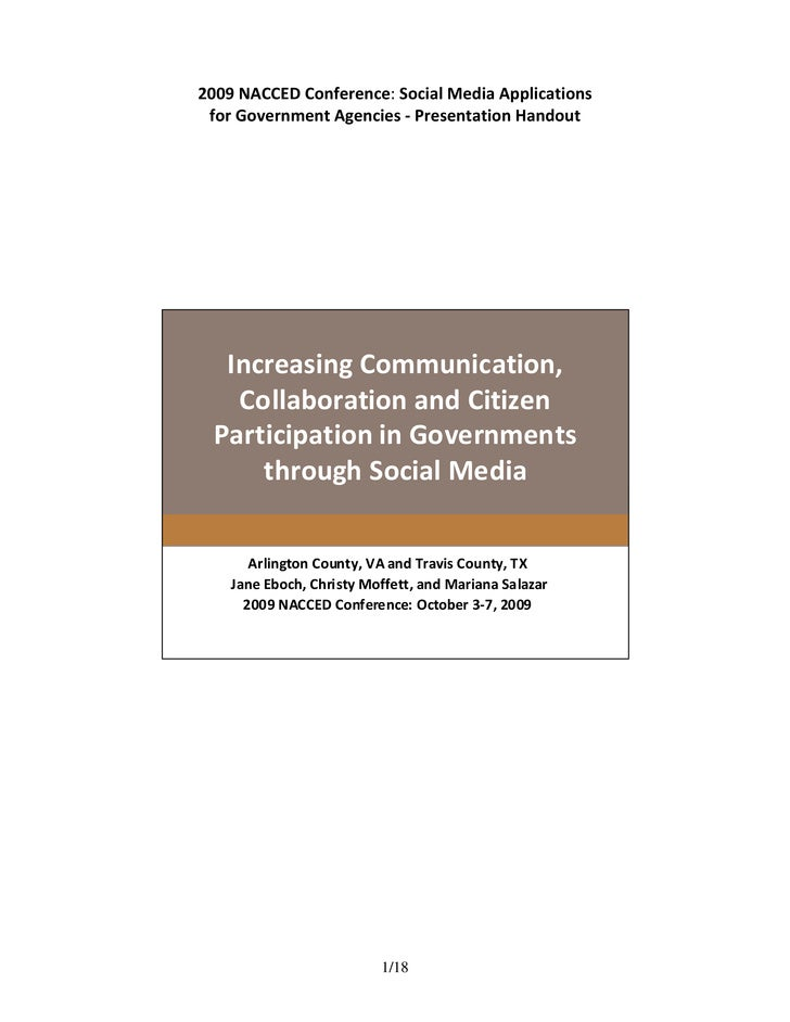 2009 NACCED Conference: Social Media Applications    for Government Agencies ‐ Presentation Handout          Increasing Co...