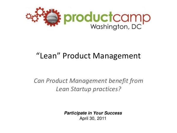 """""""Lean"""" Product Management"""
