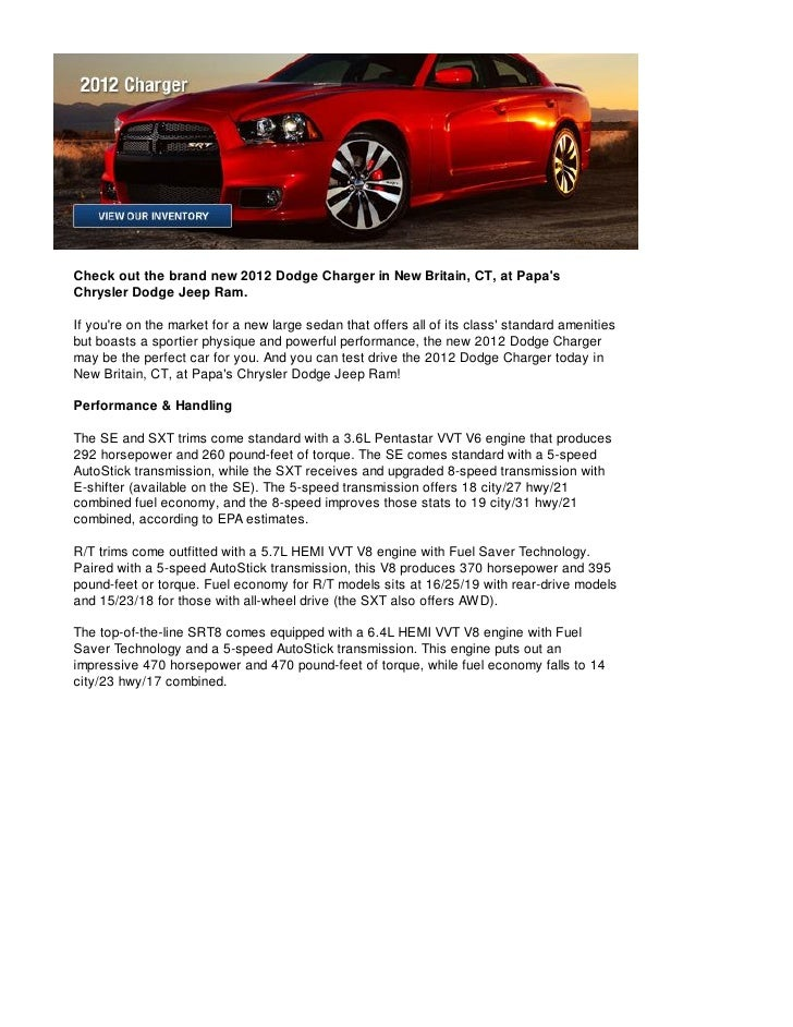 Come See the 2012 Dodge Charger near Hartford, CT