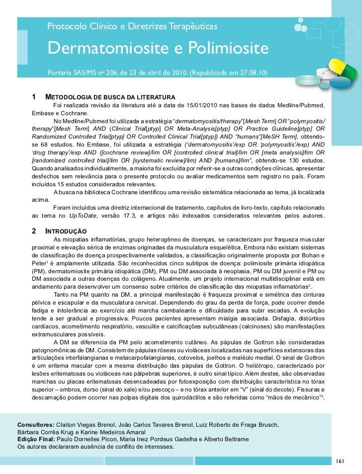 Protocolo Clínico e Diretrizes Terapêuticas          Dermatomiosite e Polimiosite           Portaria SAS/MS no 206, de 23 ...