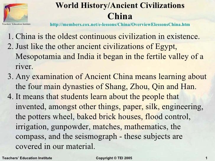 World History/Ancient Civilizations                                                           ChinaTeachers' Education Ins...