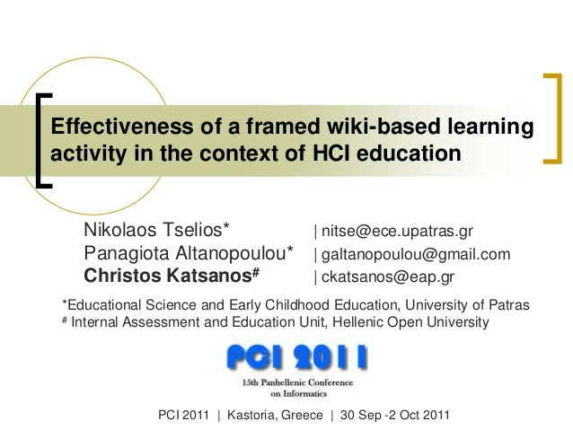 Effectiveness of a framed wiki-based learning activity in the context of HCI education