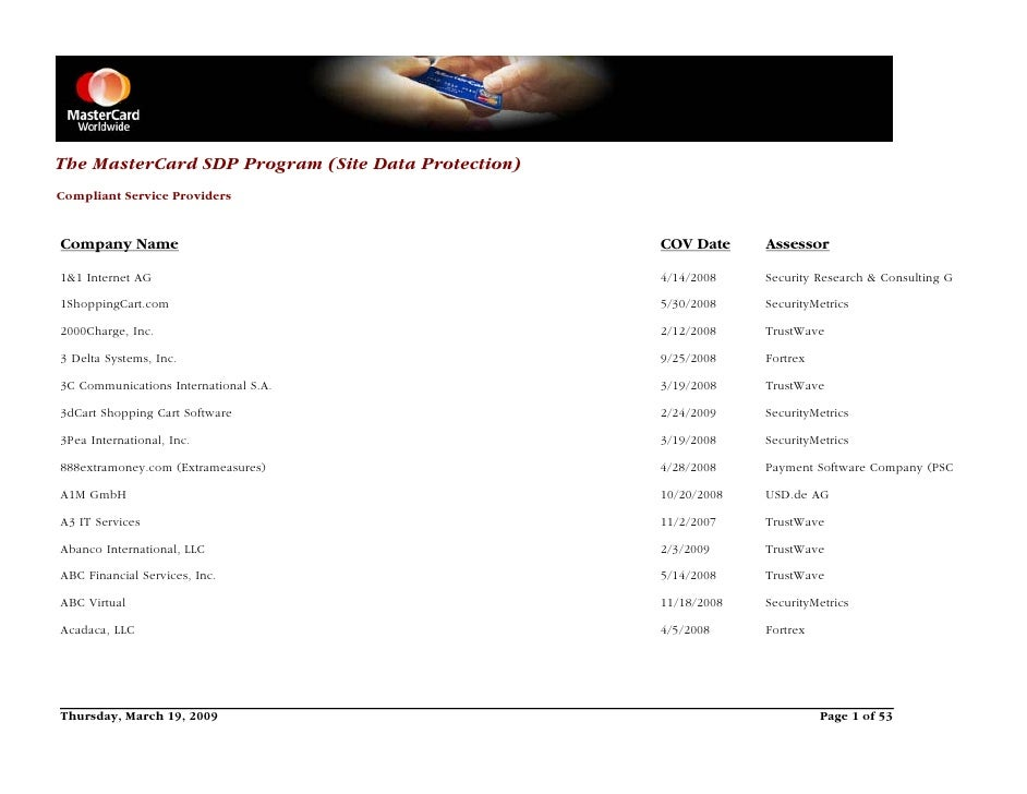 Pci Certified Mastercard List