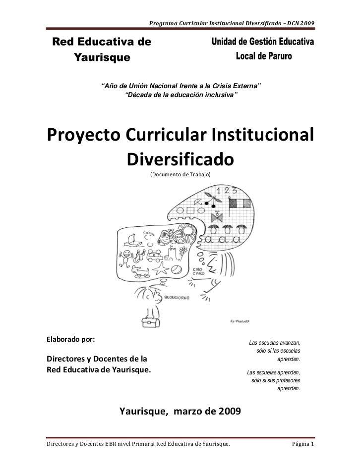 "ProgramaCurricularInstitucionalDiversificado–DCN2009                            ""Año de Unión Nacional frent..."