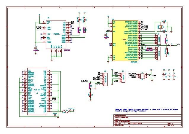1  4 VCC  6 VCC  (PCINT0/CLKO/ICP1)PB0 12  (PCINT1/OC1A)PB1 13  (PCINT2/OC1B/SS)PB2 14  (PCINT3/OC2A/MOSI)PB3 15  D8  D9  ...