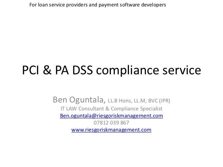 PCI & PA DSS Compliance Service