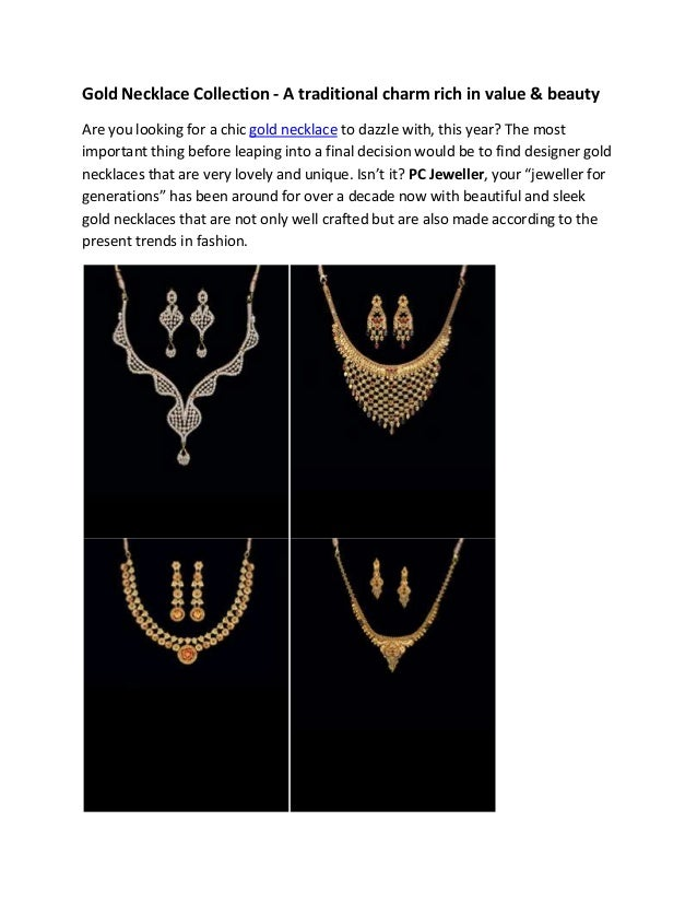 Pc jeweller gold necklace collection -A Traditional Charm