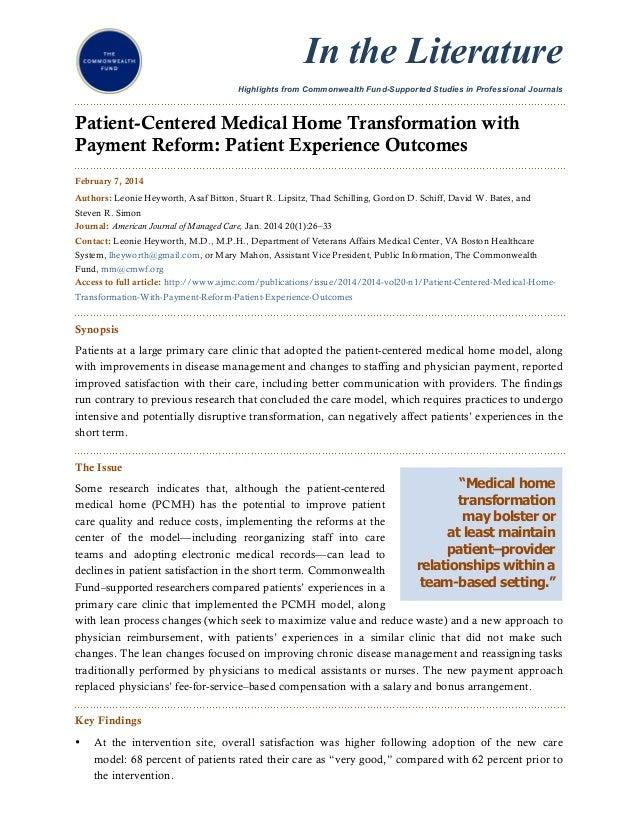 Pcmh patient experiance.