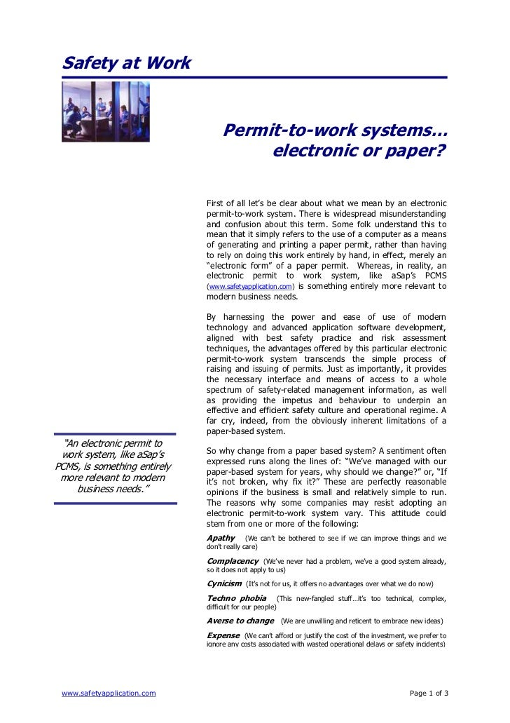 Safety at Work                                   Permit-to-work systems…                                        electronic...