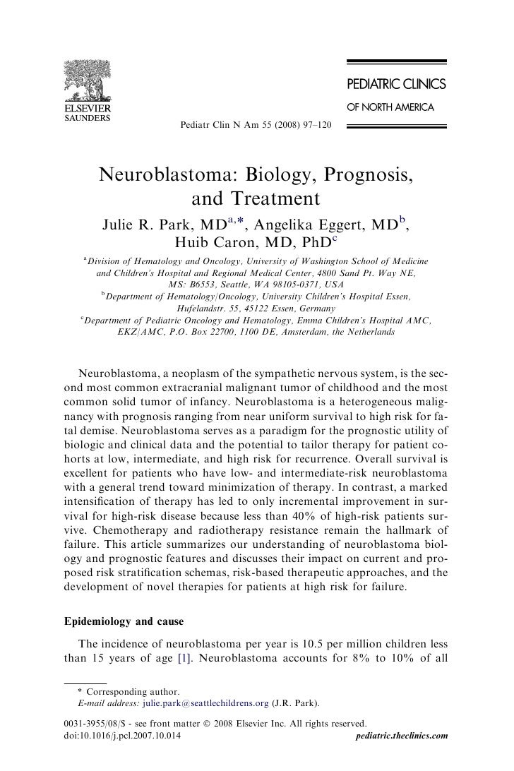 Neuroblastoma: Biology, Prognosis, and Treatment.