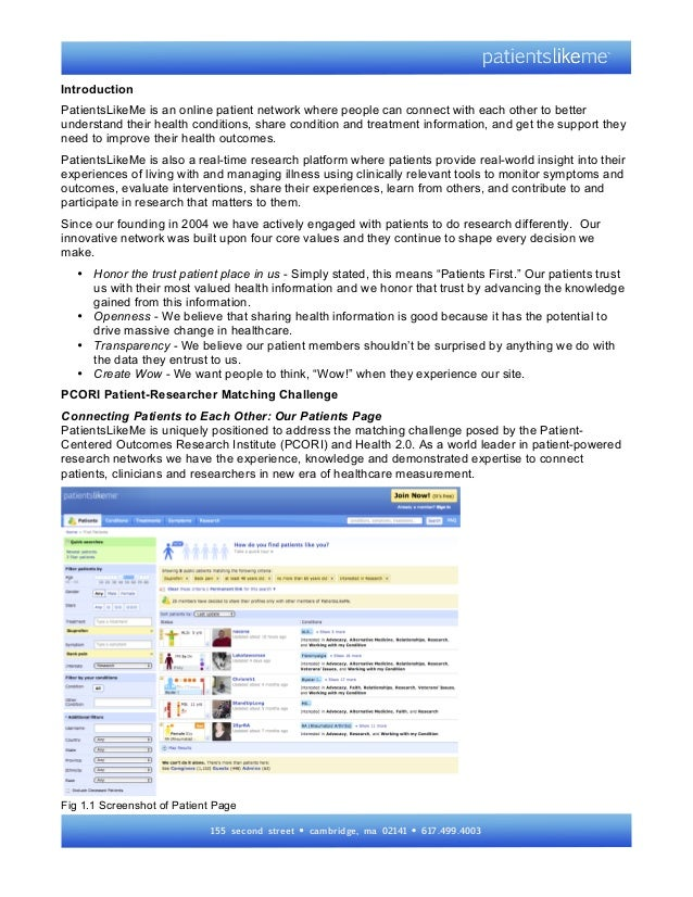 Pcori health 2.0 challenge with screenshots_patients_likeme_041513