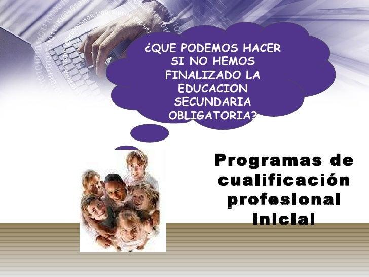 ¿QUE PODEMOS HACER SI NO HEMOS FINALIZADO LA EDUCACION SECUNDARIA OBLIGATORIA? Programas de cualificación profesional inic...