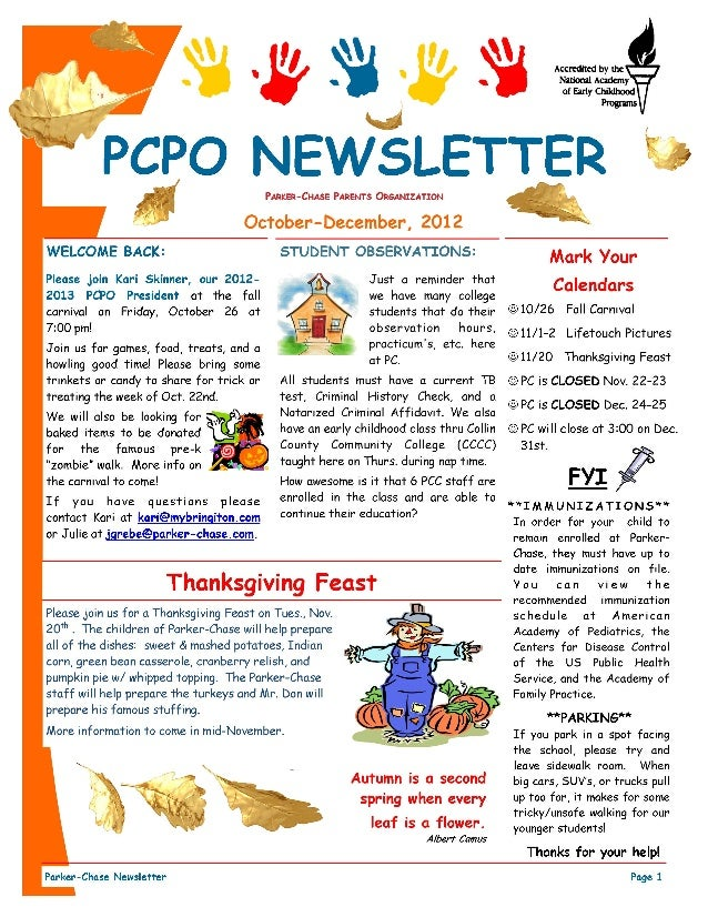 daycare newsletter ideas