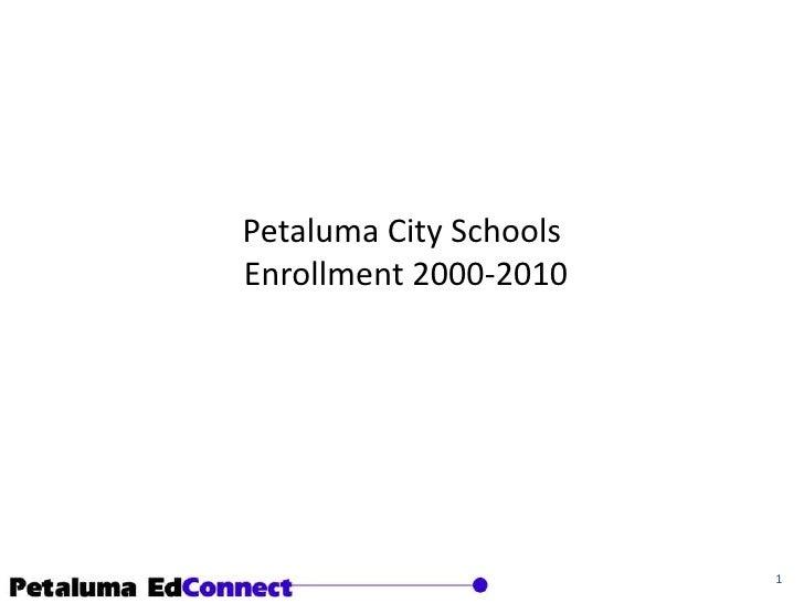 Petaluma City SchoolsEnrollment 2000-2010<br />1<br />