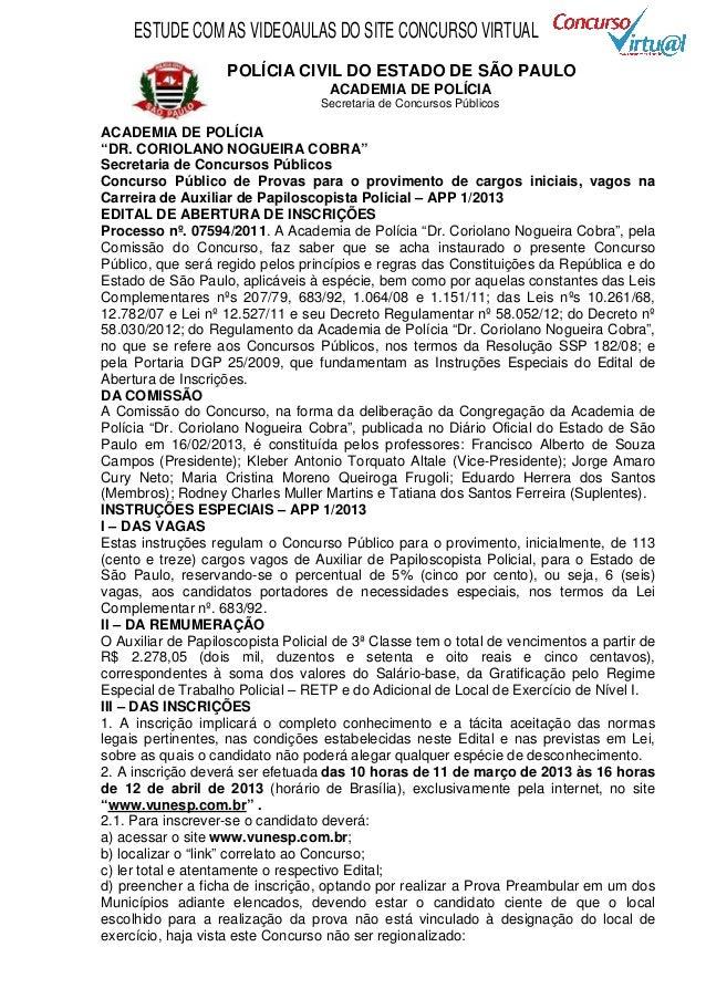 Edital concurso Auxiliar de Papiloscopista Polícia Civil de SP