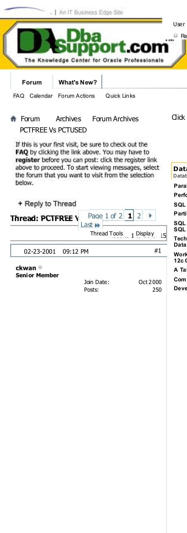 Pctfree vs pctused