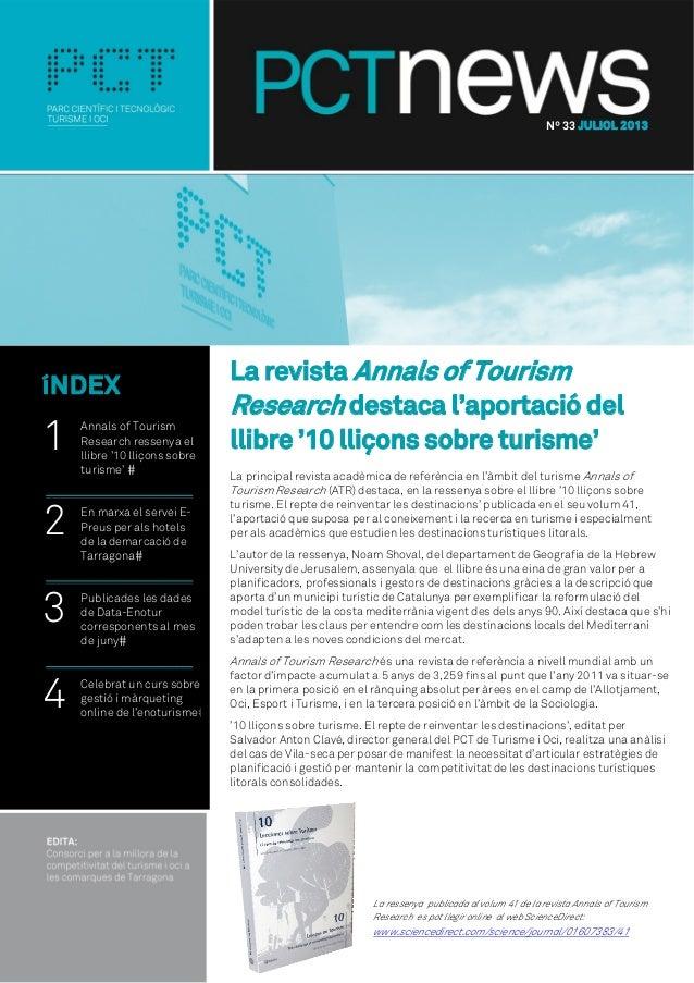 La revista Annals of Tourism Research destaca l'aportació del llibre '10 lliçons sobre turisme' La principal revista acadè...