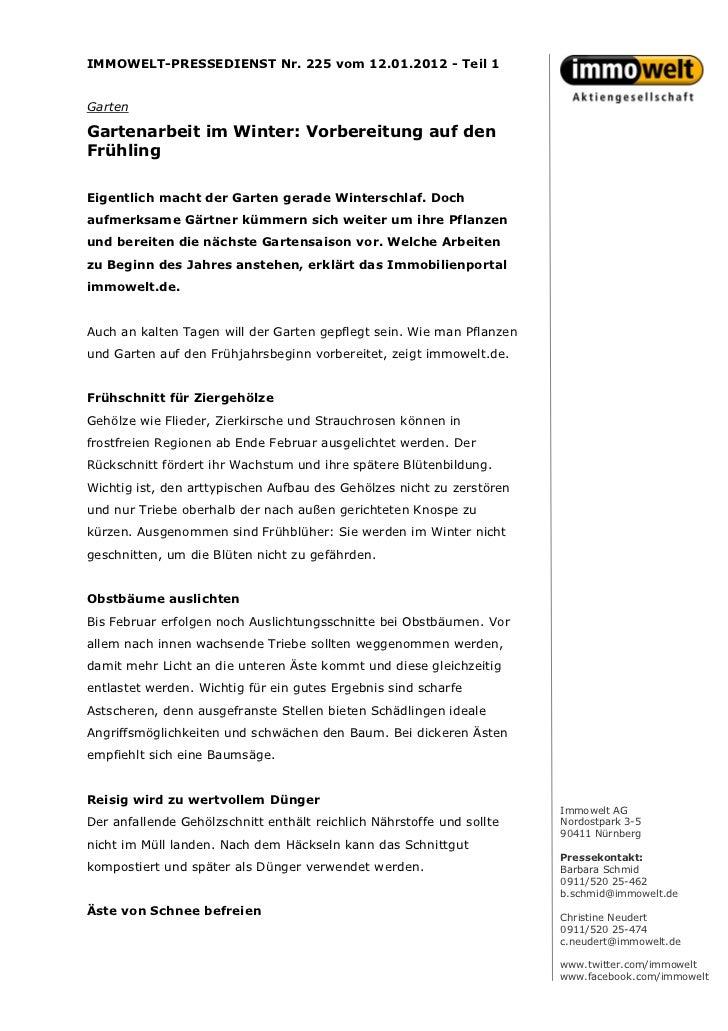 IMMOWELT-PRESSEDIENST Nr. 225 vom 12.01.2012 - Teil 1GartenGartenarbeit im Winter: Vorbereitung auf denFrühlingEigentlich ...
