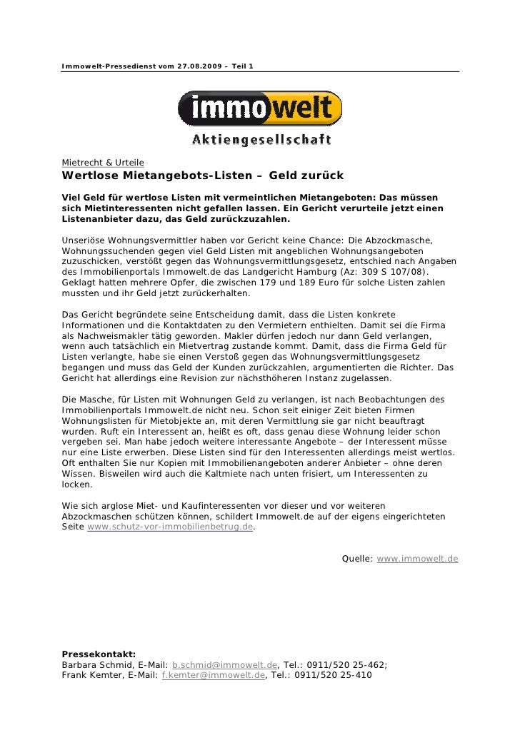 Immowelt-Pressedienst vom 27.08.2009 – Teil 1Mietrecht & UrteileWertlose Mietangebots-Listen – Geld zurückViel Geld für we...