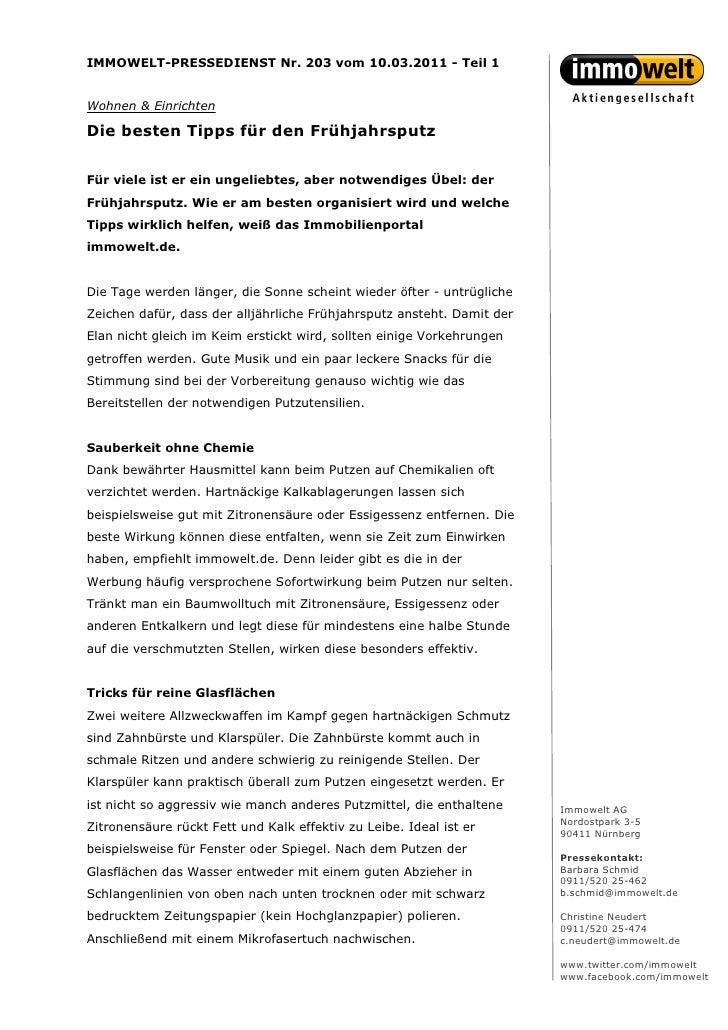 IMMOWELT-PRESSEDIENST Nr. 203 vom 10.03.2011 - Teil 1Wohnen & EinrichtenDie besten Tipps für den FrühjahrsputzFür viele is...