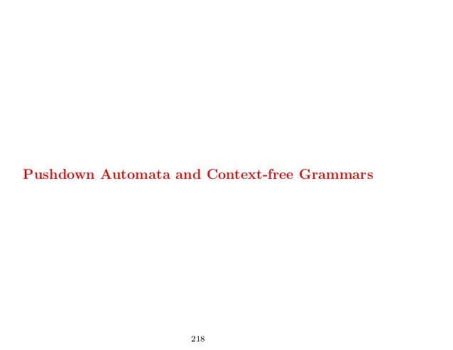 Pushdown Automata and Context-free Grammars                    218