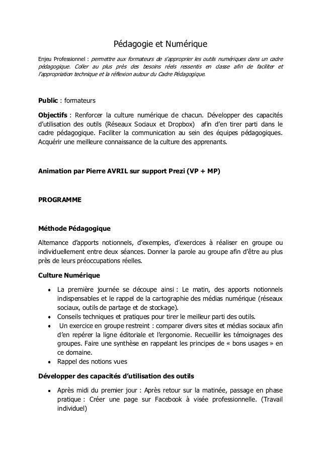 Pédagogie et NumériqueEnjeu Professionnel : permettre aux formateurs de s'approprier les outils numériques dans un cadrepé...