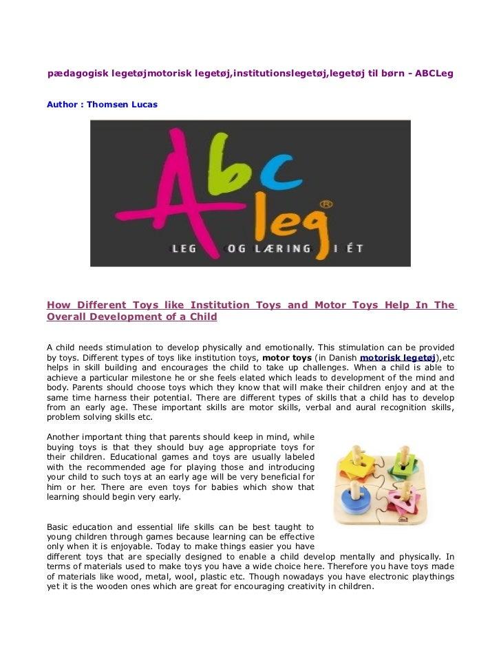 pædagogisk legetøjmotorisk legetøj,institutionslegetøj,legetøj til børn - ABCLegAuthor : Thomsen LucasHow Different Toys l...