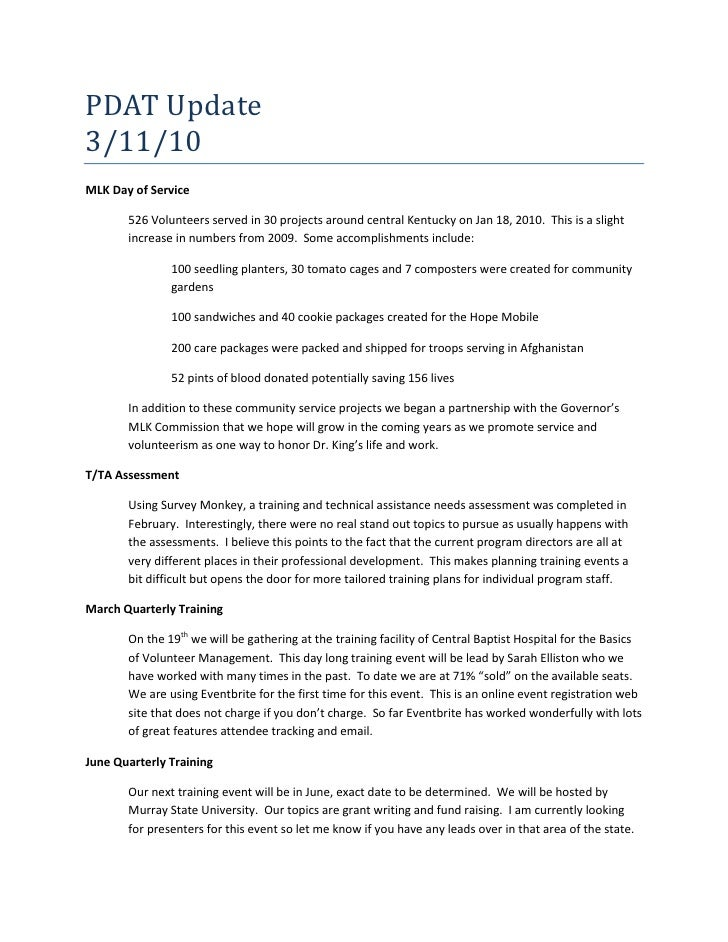 PDAT Update <br />3/11/10<br />MLK Day of Service<br />526 Volunteers served in 30 projects around central Kentucky on Jan...