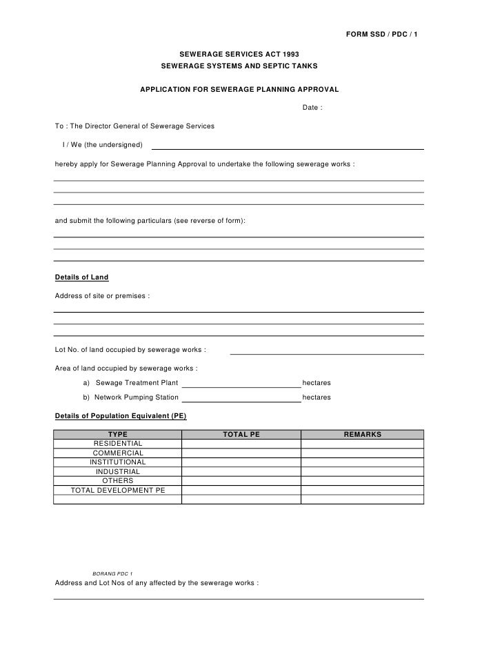 FORM SSD / PDC / 1                                        SEWERAGE SERVICES ACT 1993                                 SEWER...