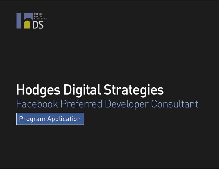 DSHodges Digital StrategiesFacebook Preferred Developer ConsultantProgram Application