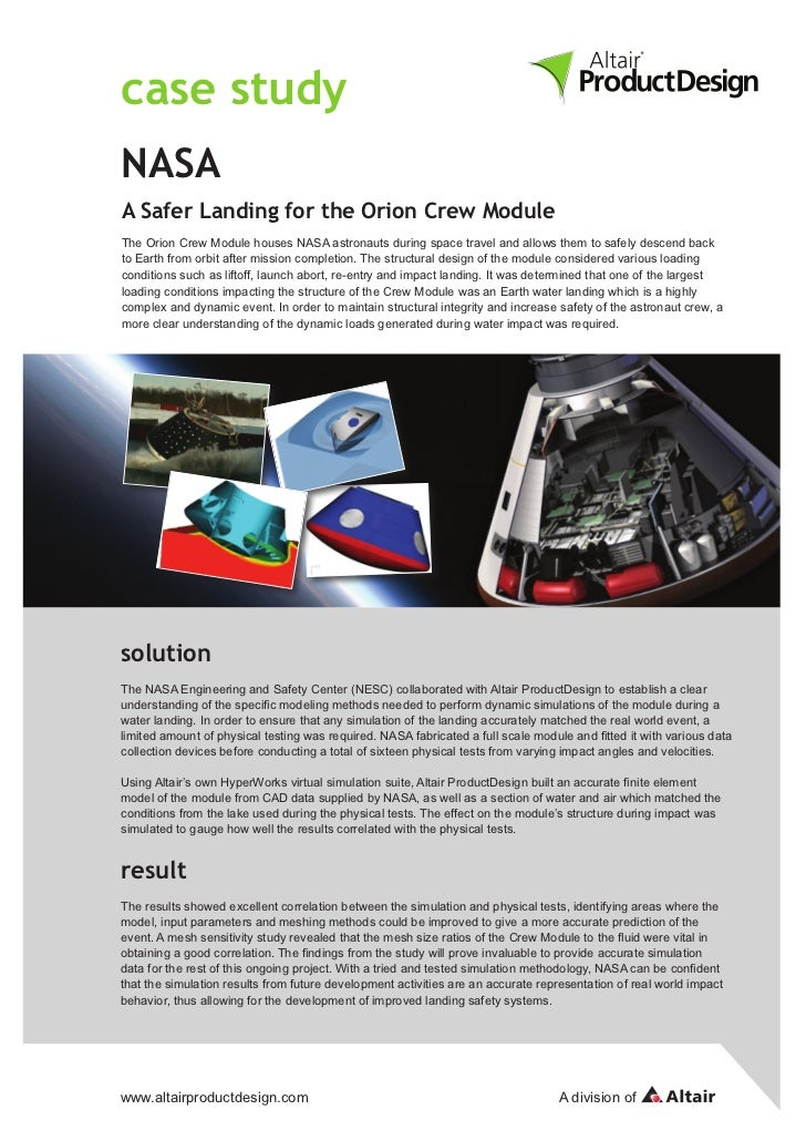 case studyNASAA Safer Landing for the Orion Crew ModuleThe Orion Crew Module houses NASA astronauts during space travel an...