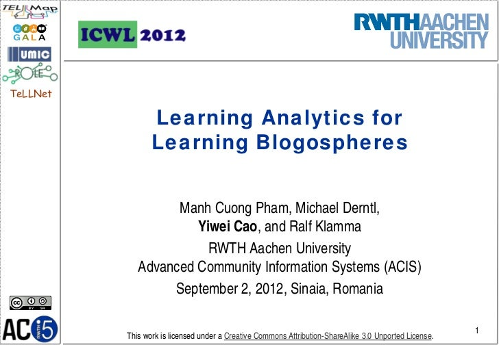 Learning Analytics for Learning Blogospheres