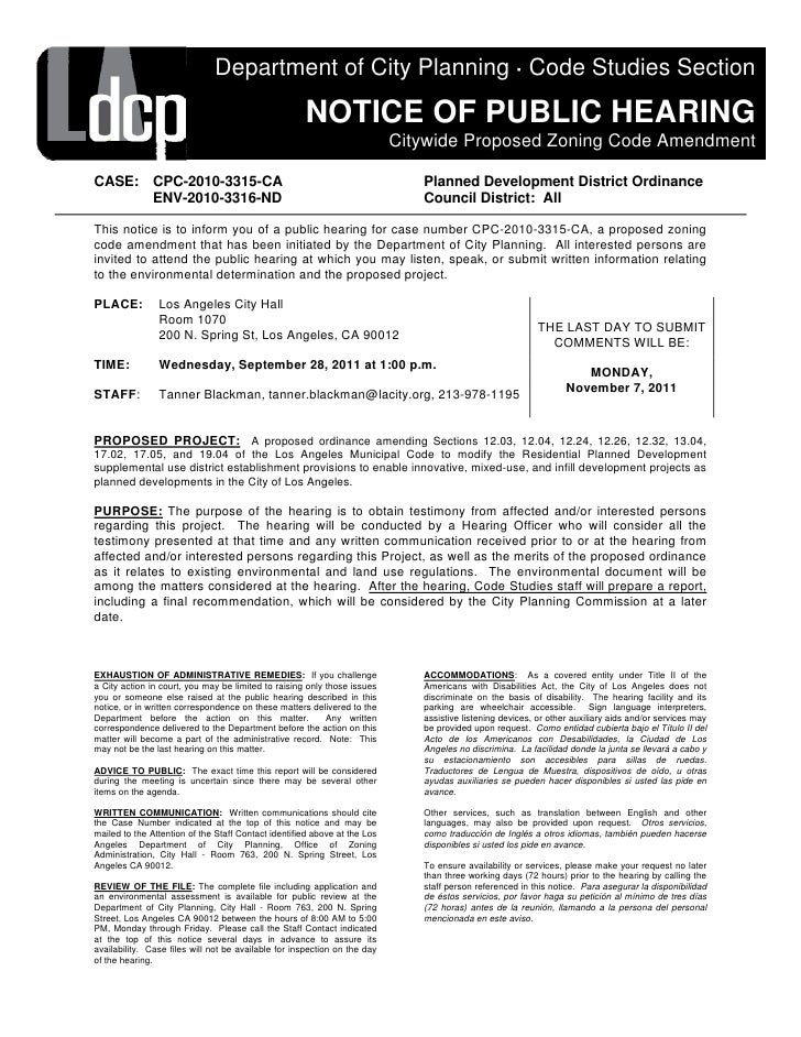 Department of City Planning · Code Studies Section                                                     NOTICE OF PUBLIC HE...